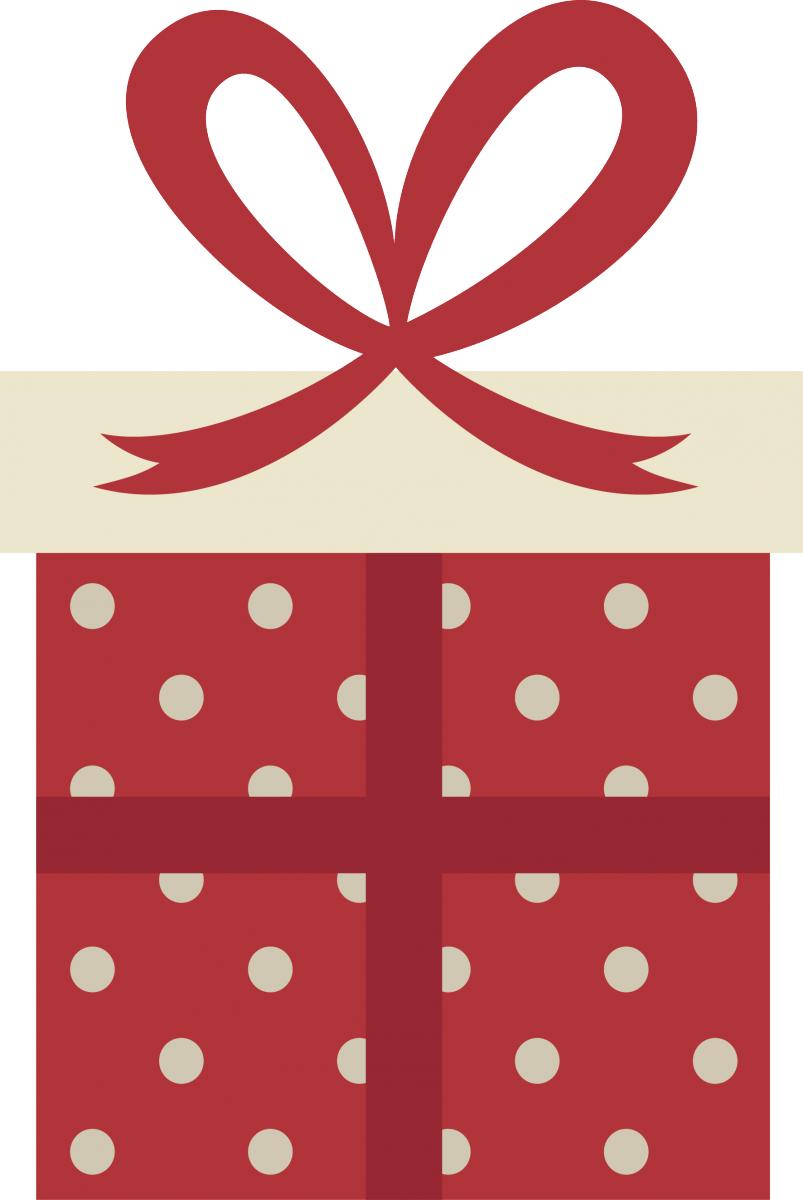 Stickers natalizio con pacco dono a pois | LivingDECO'