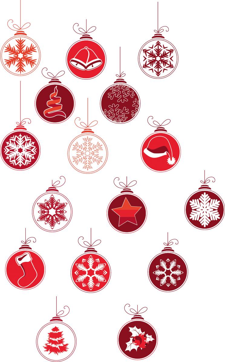 Adesivo murale palline di natale livingdeco 39 - Adesivi natalizi per finestre ...