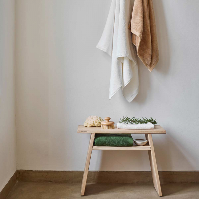 Mink - Panca porta asciugamani in legno di rovere