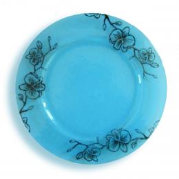 Piatto azzurro - serie fiori