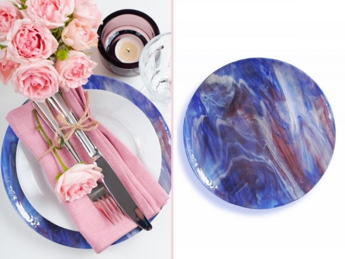 Centrotavola grande variegato - blu rosa bianco