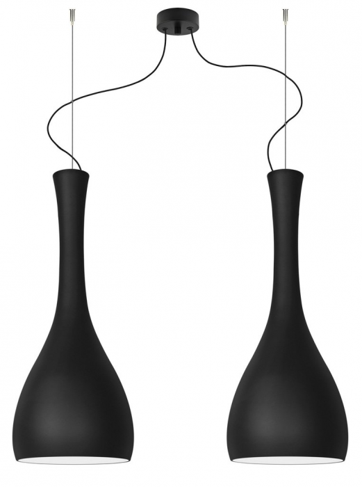 Lampada a sospensione ITTEKI Elementary 2/S doppio paralume, nero opaco e cavo nero