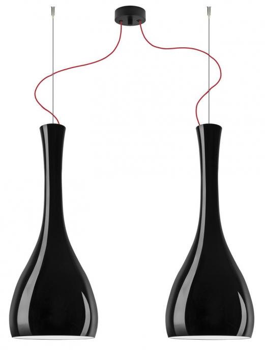 Lampada a sospensione ITTEKI Elementary 2/S, doppio paralume, nero lucido e cavo rosso