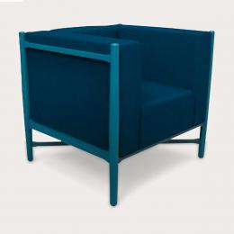 Loka - poltrona blu con struttura laccata blu