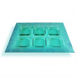 Porta aperitivi in vetro di Murano verde acqua