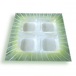Porta aperitivi trasparente - decori verdi