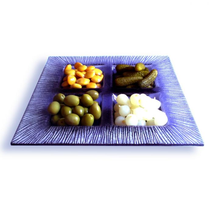 Porta aperitivi viola - decori bianchi