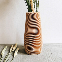 Wave - vaso di design color legno naturale
