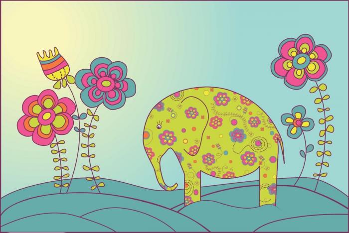 Elefante a fiori