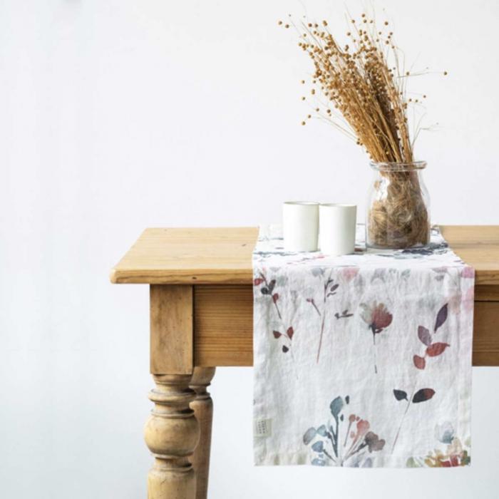 Watercolor - runner in lino a fiori