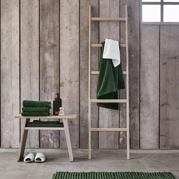 Mink - Scala porta asciugamani in legno di rovere