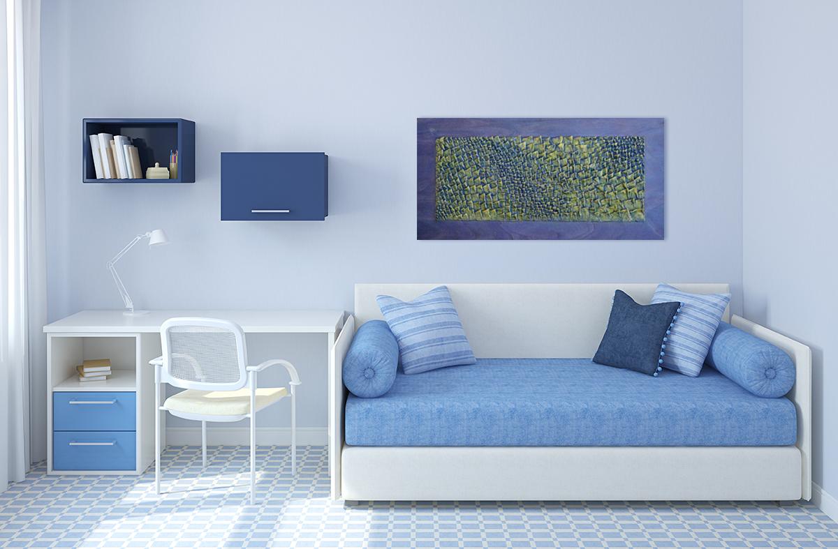 Parete Gialla E Verde : Pannelli decorativi d giallo verde e blu livingdeco