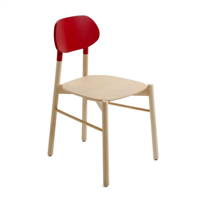 Bokken - sedia in faggio naturale con schienale rosso