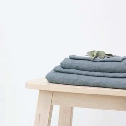 Small Waffle - set asciugamani in lino azzurro polvere