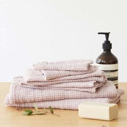 Waffle - set asciugamani in lino rosa