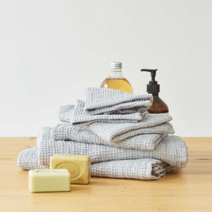 Waffle - set asciugamani in lino grigio