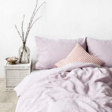 Pink lavender - copripiumino in lino rosa lavanda