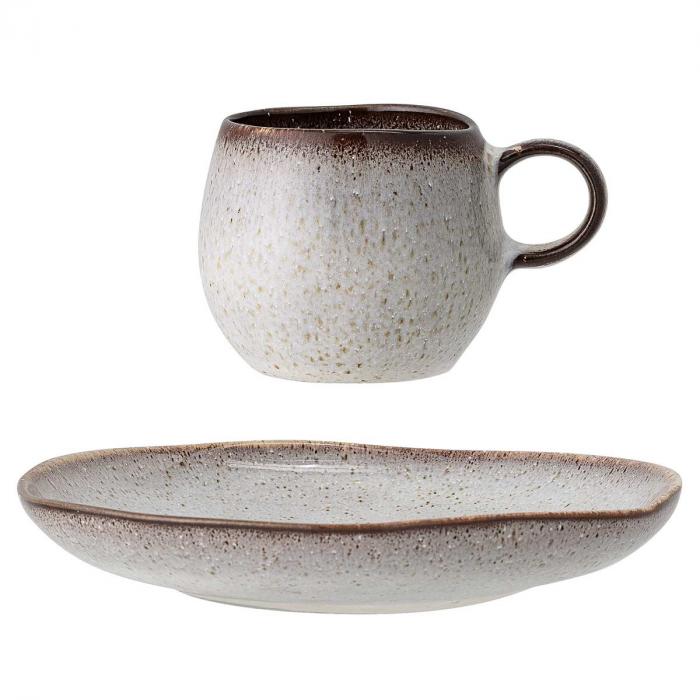 Sandrine - set 4 tazzine da caffè grigio sabbia