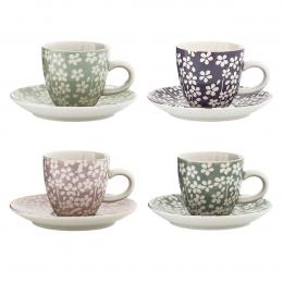 Seeke - set 4 tazzine da caffè a fiori