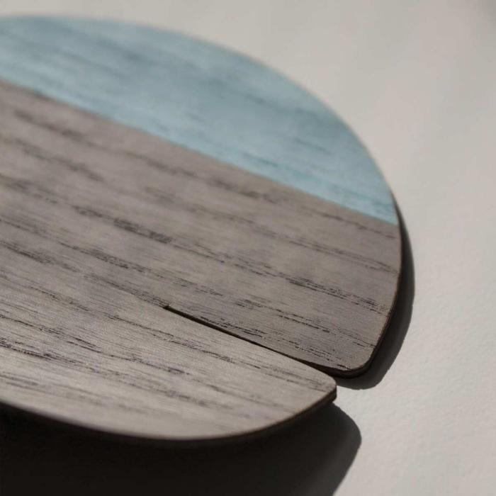 Sottobicchiere grigio/azzurro in legno