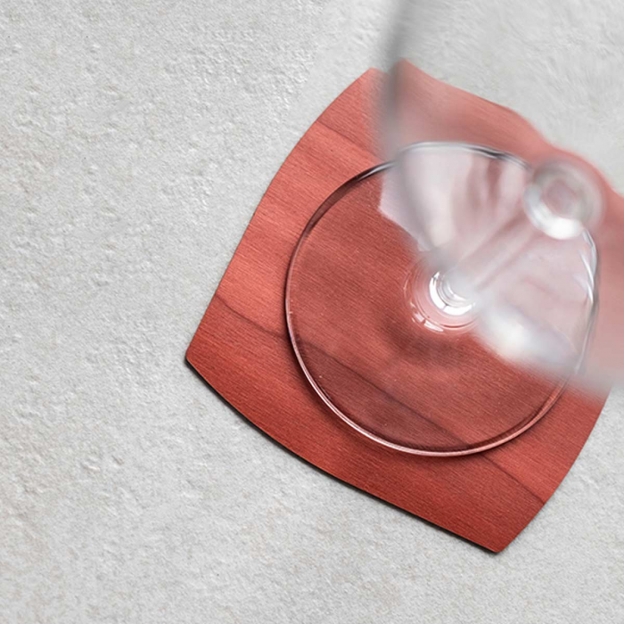 Sottobicchiere in rovere toulipier rosso mattone