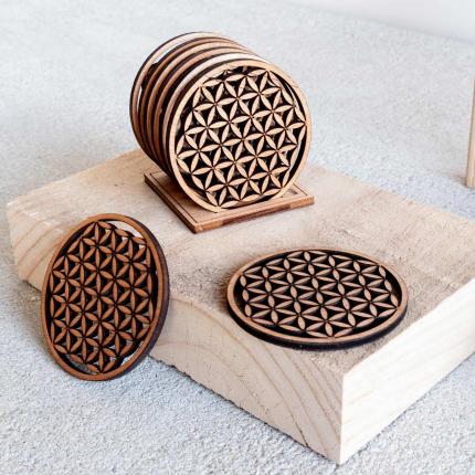 Ikawi - Set di sei sottobicchieri in legno