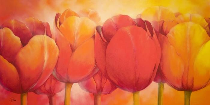 Stampa su tela tulipani arancioni gialli e rossi for Tulipani arancioni