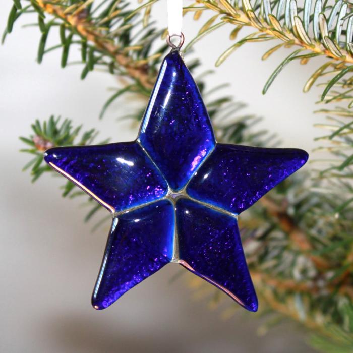 Stella blu in vetro di Murano