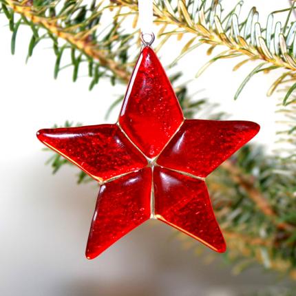 Decorazione in vetro di Murano - stella rossa