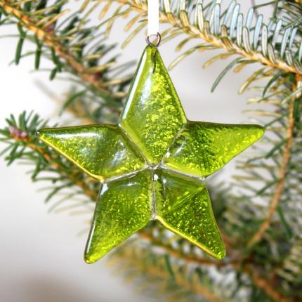 Decorazione in vetro di Murano - stella verde chiaro