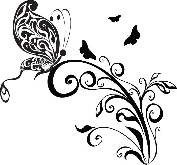 Sticker con motivo floreale e farfalla livingdeco 39 for Decorazione floreale