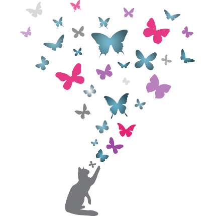 Gatto e farfalle