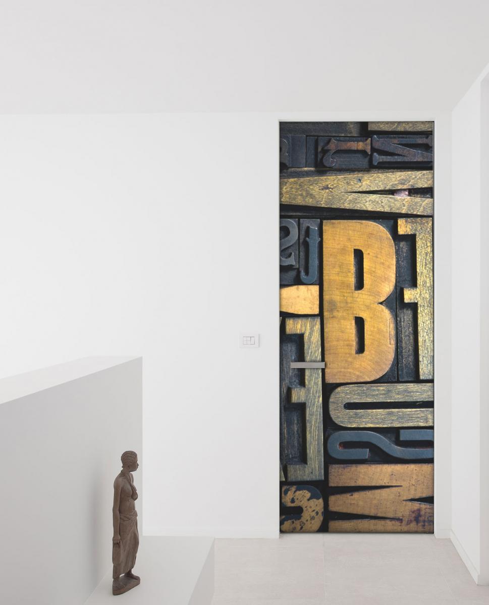 Adesivo per porte typograpgy abstract livingdeco 39 for Decoration porte chambre garcon