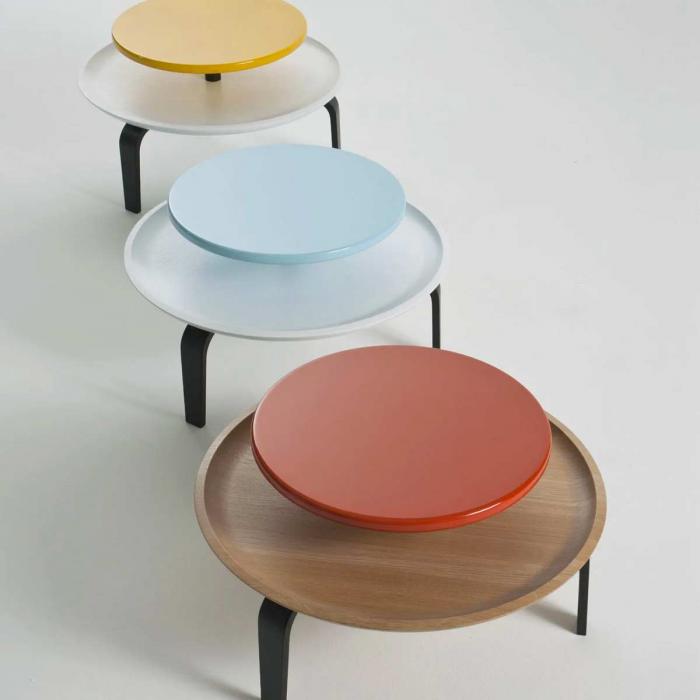 Secreto - coffee table in rovere naturale e laccato arancione
