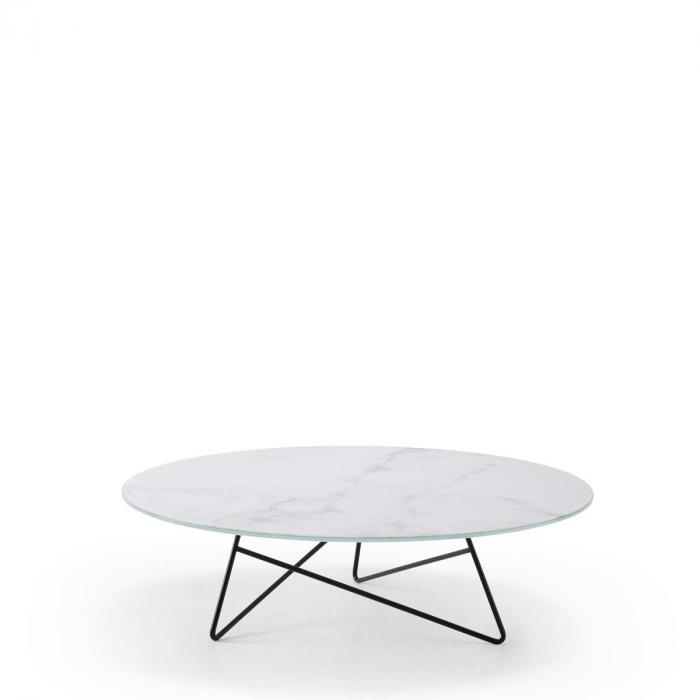 Ermione - tavolino in vetro-marmo bianco Calacatta - 90 cm