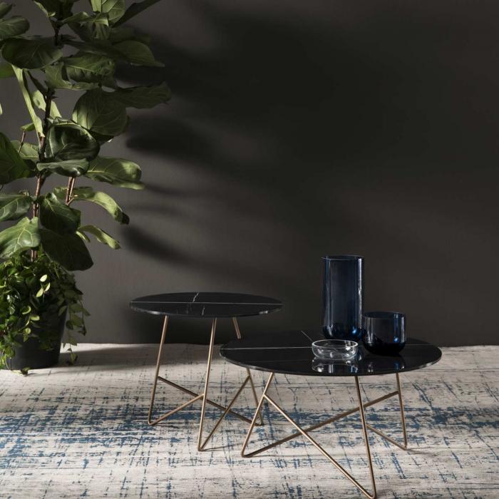 Ermione - Tavolino in vetro-marmo nero Black Sahara - 50 cm