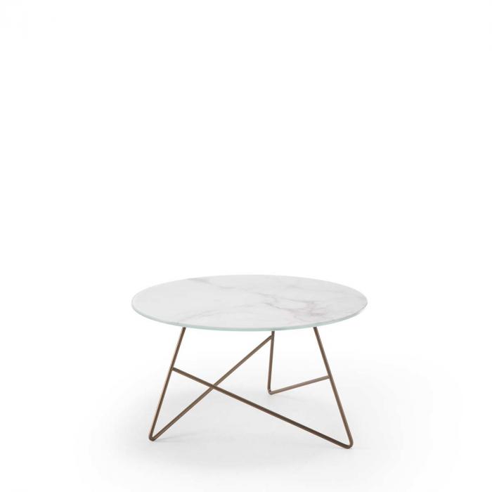 Ermione - tavolino in vetro-marmo bianco Calacatta - 65 cm
