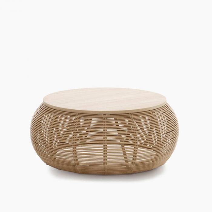 Vivi - coffee table in rattan e rovere