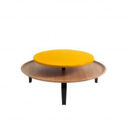 Secreto - coffee table in rovere naturale e laccato giallo