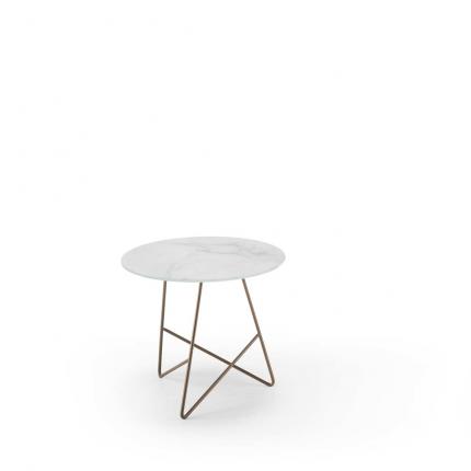 Ermione - tavolino in vetro-marmo bianco Calacatta - 50 cm