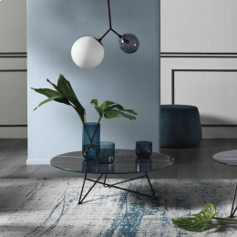 Ermione - tavolino in vetro-marmo nero Black Sahara - 90 cm