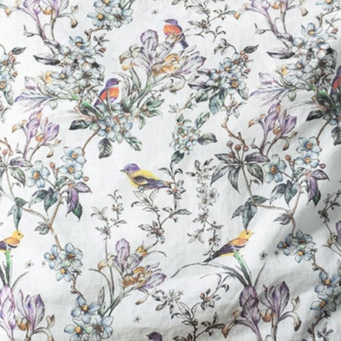 Birds - Set 2 tovaglioli in lino con stampa uccelli e fiori