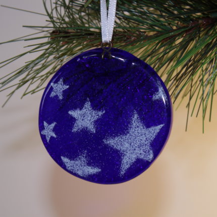 Decorazioni Natalizie - Tondo blu con stelle