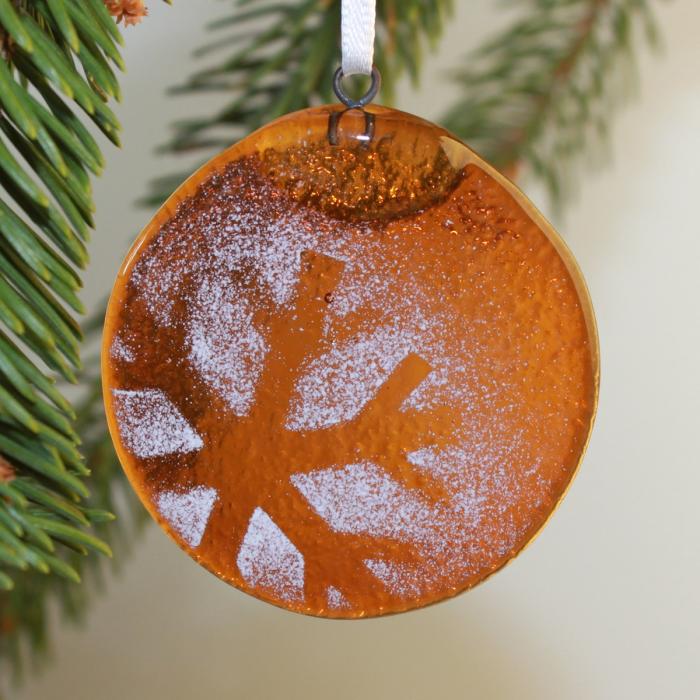 Decorazione natalizia in vetro di Murano ambra