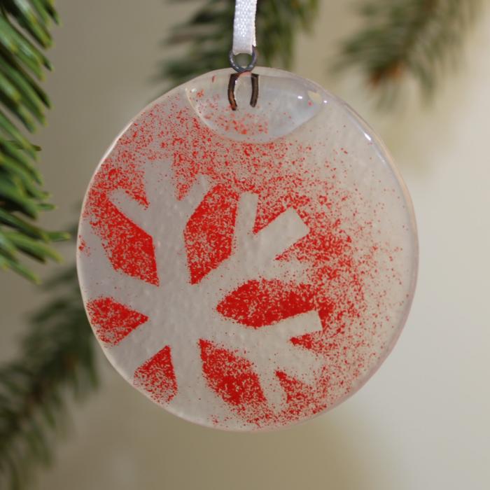 Decorazione natalizia tonda in vetro di Murano