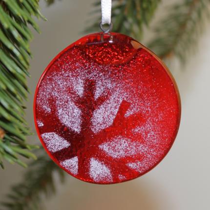 Addobbo natalizio in vetro di Murano rosso