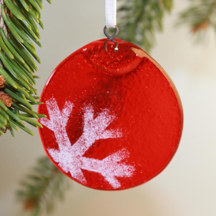 Decorazione natalizia in vetro di Murano rosso