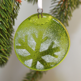 Addobbo verde chiaro in vetro di Murano
