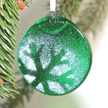 Addobbo in vetro di Murano tondo verde smeraldo