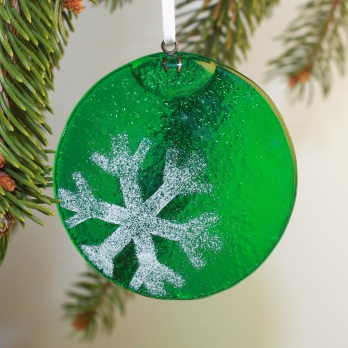 Decorazione natalizia in vetro di Murano verde